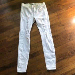 Express Jeans White Denim Mid Rise Legging Size 4